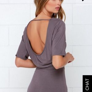 Purple mini backless dress